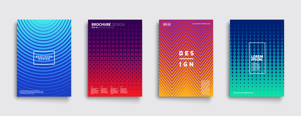 Minimal covers design. Cool gradient colors. Geometric halftone gradients. Eps10 vector.