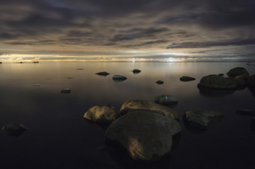 Seashore with stones.The Gulf of Finland, the Baltic Sea.