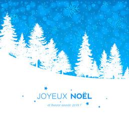 Carte de Noël avec paysage enneigé