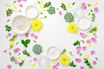 Spa products arrangement with floral decoration