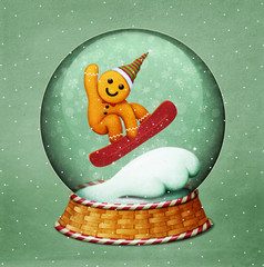 Holiday greeting card or poster for Christmas or New Year with snowglobe and gingerbread Christmas cookie.