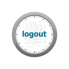 logout word on digital touch screen. information concept . Abstract wall clock isolated on a white background