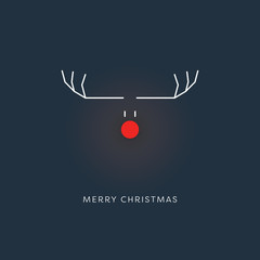 Minimalistic funny christmas card template with reindeer symbol at night and glowing red nose.