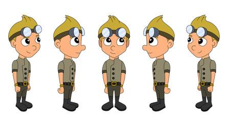 Steampunk boy cartoon