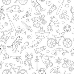 Seamless pattern on the theme of childhood and toys, toys for boys, black contour icons on white background