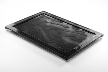 Rectangular black plexiglass tray