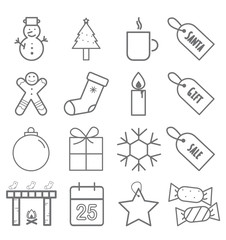 Simple set of Christmas vector line icons