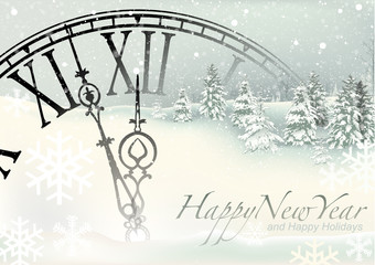 New Year Background with Snowy Landscape and Clock and Snowflakes - Winter Illustration, Vector