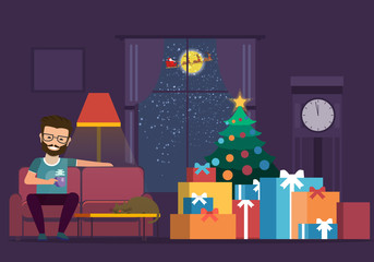 A cartoon drawing room with a Christmas tree by the window. Happy man on sofa with a cup of tea. Christmas holiday. Christmas in the living room with furniture and illustration of a green tree