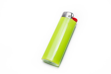 Macro Of A Green Lighter Isolated On White Background