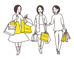 Ladies go down the street with shopping bags