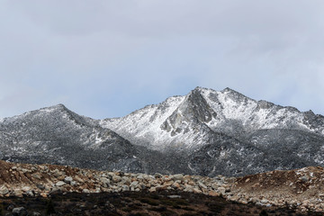 snow on mountain peak in winter