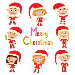 Set of cute little Christmas girls and boys elf in red costume smiling, vector illustration with text - merry Christmas, isolated on white used for magazine or book, poster and card, web pages.