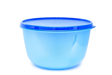 Empty transparent plastic bowl isolated