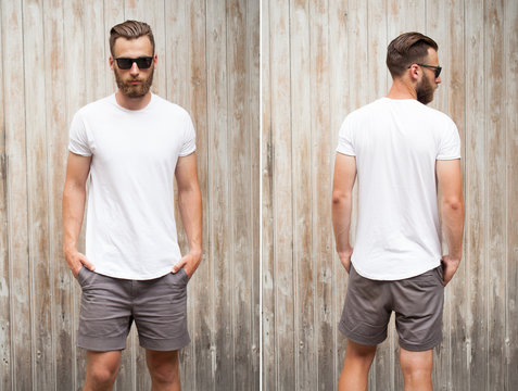 Front and back view of a hipster handsome male model with beard wearing white blank t-shirt with space for your logo or design in casual urban style