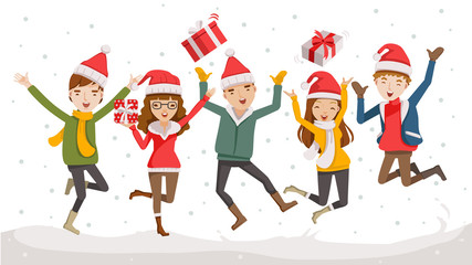 Happy Christmas Day Celebrating  together happy. Group of cartoon young people in Santa hats. Jump and throw gifts on the sky in the snow in winter.  Illustration, vector