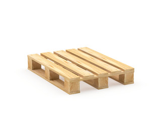 One wooden pallet isolated on a white background. 3D illustration