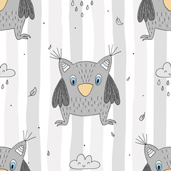 Hand drawn vector Cute seamless pattern with Cute owl