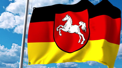 Waving flag of Lower Saxony, a state of Germany. 3D rendering