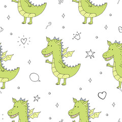 Cute hand drawn seamless pattern with funny dragons