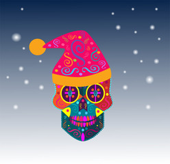 New Year Skull vector background