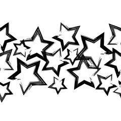 Seamless vector background with decorative stars. Black-and-white brushwork. Scratches texture. Textile rapport.