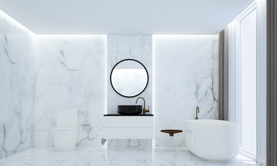 The luxury bathroom interiors design idea concept and marble texture wall