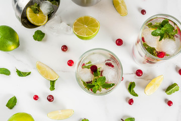 Fall and winter refreshment drink, cranberry mojito cocktail with lime and mint, on white table, copy space