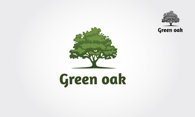 Green Oak Silhouette of a tree, Vector logo design