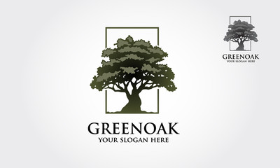 Green oak tree Logo template. Clean and modern style on white background