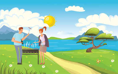 People on picnic or Bbq party in rural landscape on the seafront. Young Man and woman cooking steaks and sausages on grill. Vector illustration.