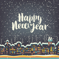 Vector illustration with old buildings with brightly coloured Windows in the European city in the winter. Christmas card with a handwriting inscription Happy New Year 2018.