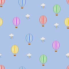 Seamless hot air balloon pattern with stormy clouds