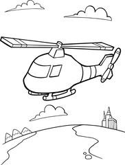 Wall Murals Cartoon draw Cute Helicopter Vector Illustration Art
