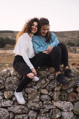 Women on rocky slope