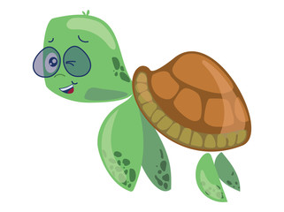 Cartoon sea turtle in glasses. Sweet turtle baby. Vector illustration for children. Art.