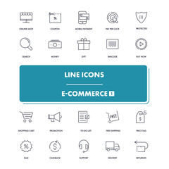 Line icons set. E-commerce 1