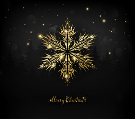 Shining gold texture Snowflake on the dark Christmas Background.