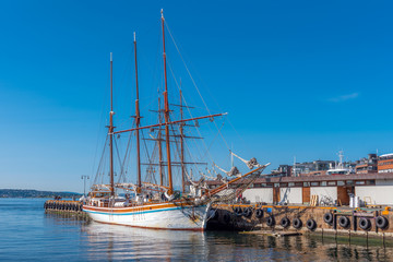 Old wooden ship in harbor of Oslo. Christiania was the name of Oslo between 1624 and 1925.