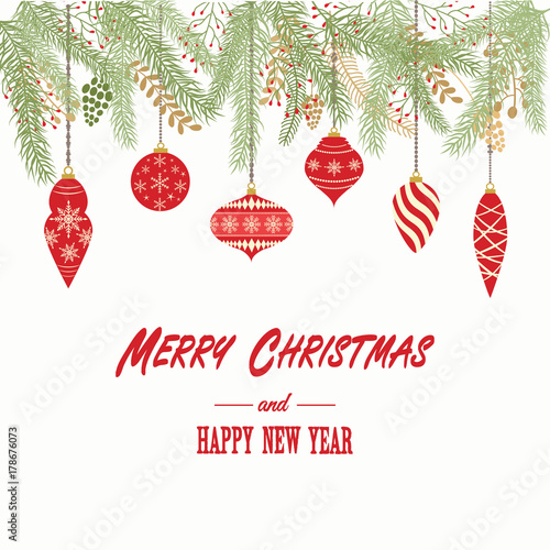 merry christmas and happy new year cardchristmas invitationgreeting card with christmas ornaments