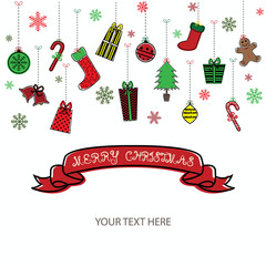 Merry Christmas Invitation Card.Christmas Greeting Card.