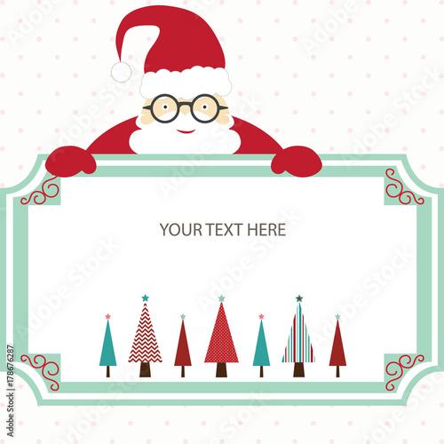 Christmas Card Template.Merry Christmas Card With Santa And Christmas Tree Christmas