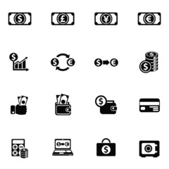 currency exchange icon set