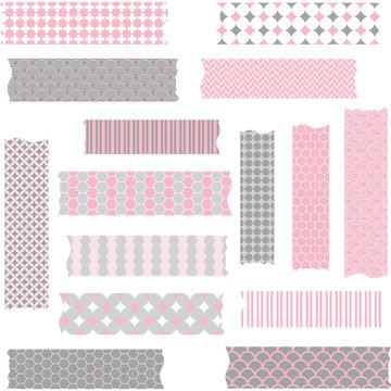 Washi Tape Scrapbook Patterns,Pink and Grey.