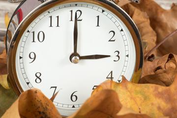 Blätter und eine Uhr zum Zeitumstellung auf Winterzeit