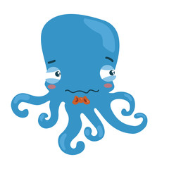 Cartoon octopus. A little sad octopus. Vector illustration for children.