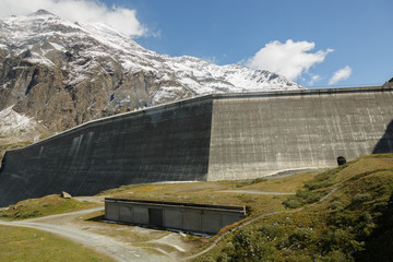 beautiful mountain landscape. Swiss alps with a dam  Grande Dixence Dam  .