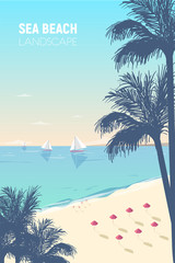 Gorgeous seascape with palm silhouettes, sand beach, pink umbrellas and sail yachts floating in ocean. Seaside landscape with sandy seashore and boats on horizon. Exotic journey. Vector illustration.