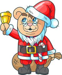 cartoon cute teddy bear santa