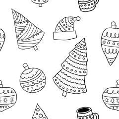 Seamless christmas scandinavian style doodle pattern, line illustration of tree and toy